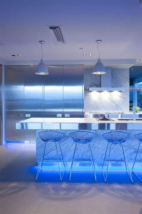Blue Led Kitchen Lights Wonderful Blue Led Light The Kitchen Island Also Bar Stools Idea Including Pendant L