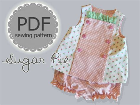 baby clothes pattern sewing sugar pie reversible bib top and bloomer by rubyjeanscloset