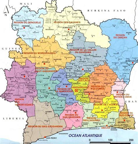 cote divoir parti ecologique ivoirien carte administrative de c 244 te d