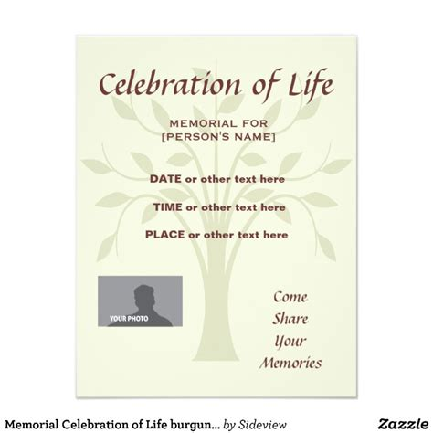 celebration of cards templates memorial celebration of tree of burgundy card