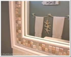 tiled bathroom mirrors how to decorate a mirror with tile sand and sisal