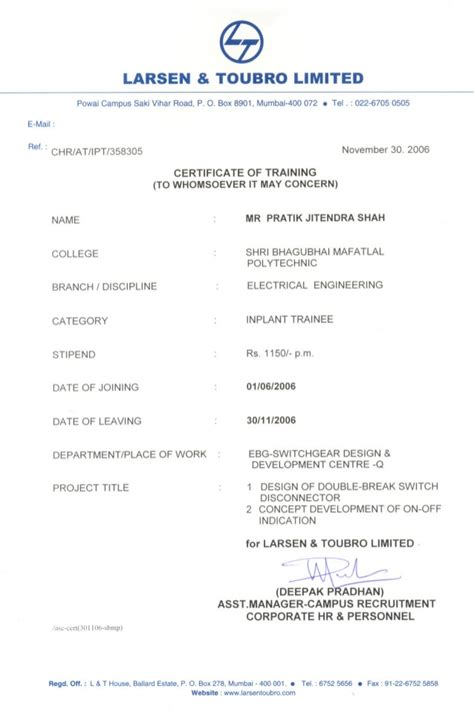 Internship Certificate Letter Pdf L T Internship Certificate