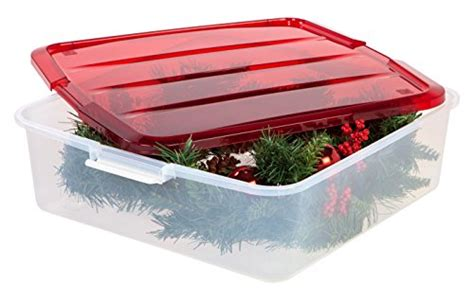 32 Inch Wreath Storage Container iris wreath box with buckle up lid home garden