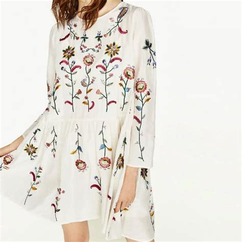 Bj 0579 White Embroidery Dress plus size floral embroidery dress o neck sleeve 2pcs cotton casual summer