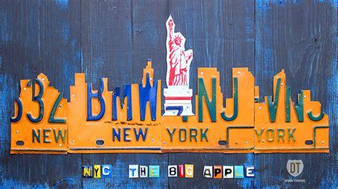 design art new york new york city skyline license plate art mixed media by