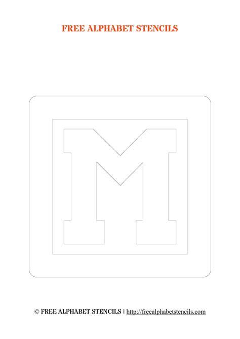 Block M Outline by Block Letter Alphabet Stencils Outline Freealphabetstencils