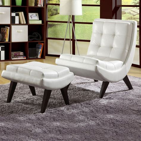 white faux leather chair with ottoman oxford creek contemporary white faux leather chair with