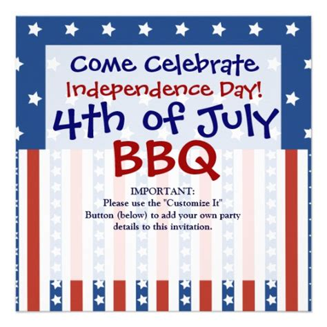 patriotic invitation templates free patriotic stripes 4th of july invitations 5 25