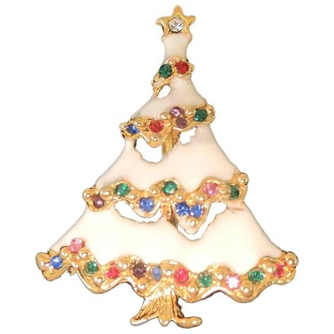 vintage white enamel christmas tree pin for sale at 1stdibs