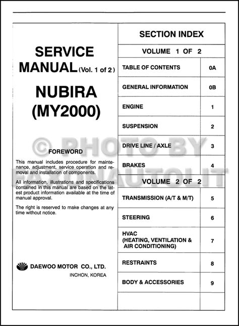 service and repair manuals 2000 daewoo nubira seat position control 2000 daewoo nubira repair shop manual original 2 volume set