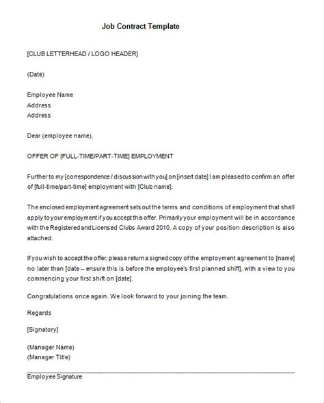 Contract Of Employment Letter Uk 11 Contract Templates Free Word Pdf Documents Free Premium Templates