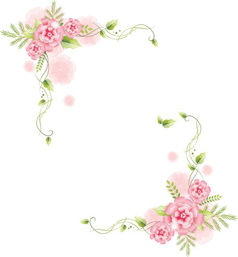 C 0225 Kaos Flowers In 花のイラスト フリー素材 フレーム枠no 391 ピンクコーナー