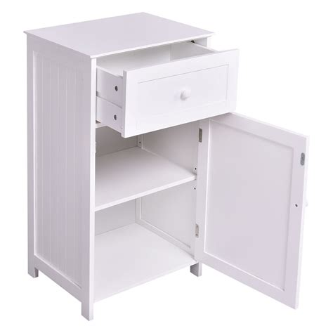 White Bathroom Storage Cabinet Kitchen Bathroom Storage Cabinet Floor Stand White Wood Furniture Organizer Bath Ebay