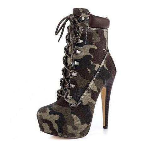 camo high heel boots flocking surface high heel lace up ankle boots
