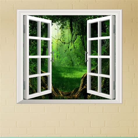 sticker for glass wall forest pag 3d artificial window view 3d wall decals room stickers home wall decor gift