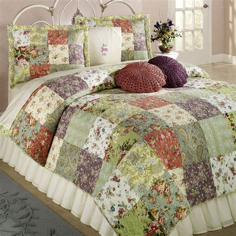 Patchwork Block Designs - blooming prairie cotton patchwork quilt set bedding