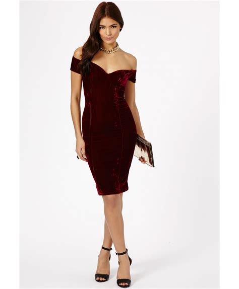 Dress Midi Sabrina Purple Maroon Midi Dress Sabrina Ungu Abu Abu lyst missguided rila velvet bardot bodycon midi dress in