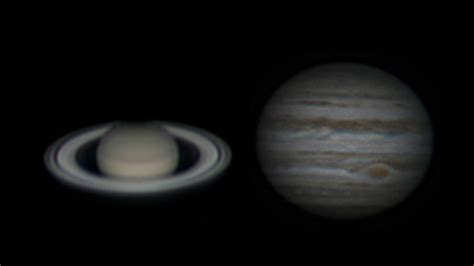 jupiter saturn saturn and jupiter through sky watcher 150 750 saturne