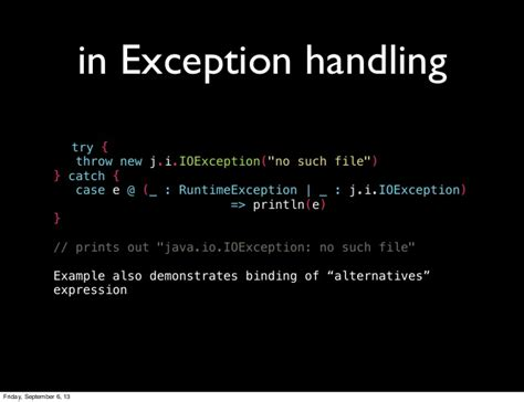 scala pattern matching throw exception intro to pattern matching in scala