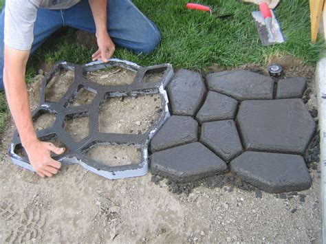diy concrete backyard home is where they love you cobble stone path