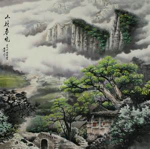japanese landscape painting morning in the mountain landscape