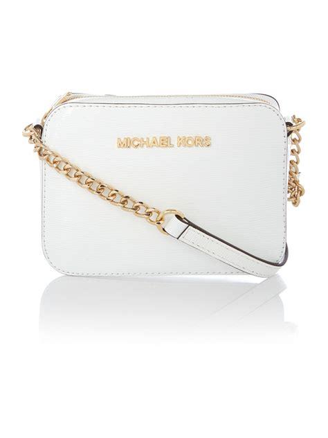 Michael Kors Sulivan White michael kors jet set travel white small chain crossbody in white lyst