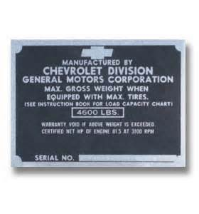 Chevrolet Parts By Vin Number 1952 Serial Number Help The 1947 Present Chevrolet
