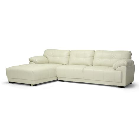 Modern Leather Sofa With Chaise Leather Modern Sectional Sofa With Left Facing Chaise See White