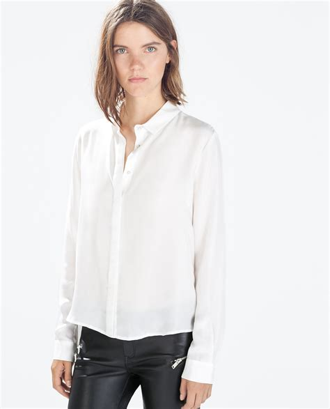 Zara White Blouse Diskon zara silk blousen with shirt collar in white lyst