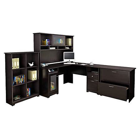 cabot l shaped desk bush furniture cabot l shaped desk and hutch with 6 cube
