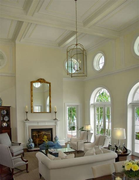 Elegant White Living Room With High Ceiling And Arched Living Room With High Ceiling