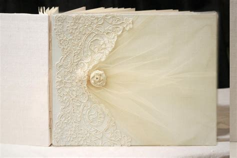 Handmade Wedding Guest Book - new ivory on ivory 9 215 12 lace wedding guest photo book