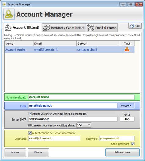 porta server smtp aruba impostazioni account aruba