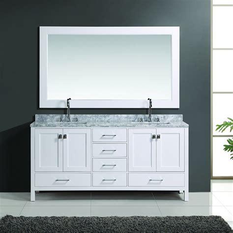 Design element 72 quot london double sink bathroom vanity w mirror white dec082b w j keats