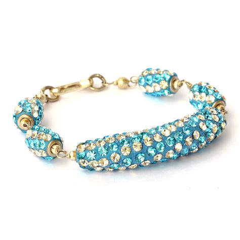 Bracelets For Handmade - handmade bracelet blue with white aqua