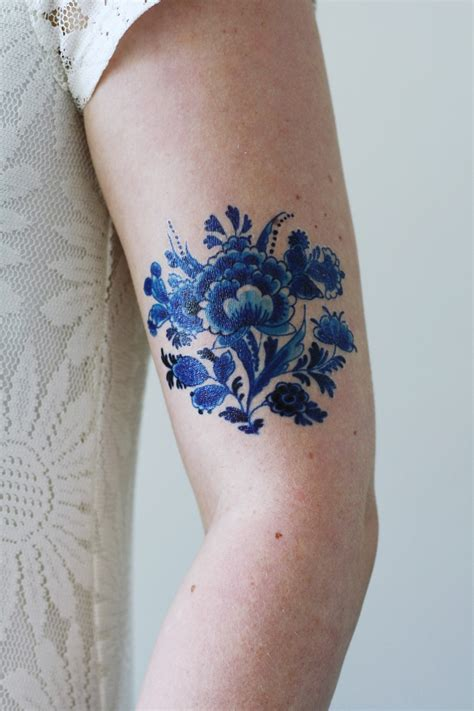 blue tattoo delft blue temporary tattoos by tattoorary