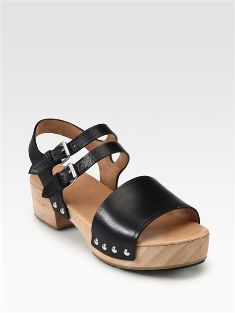 clogs sandals for lyst marc by marc leather wooden clog sandals in