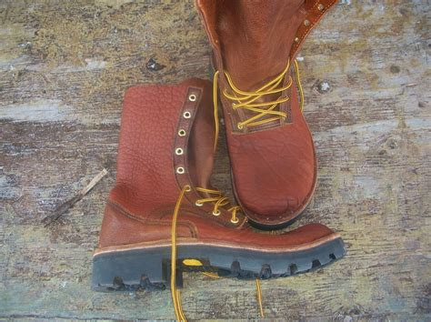 Custom Handmade Work Boots - made front lace buffalo hide leather work boots by