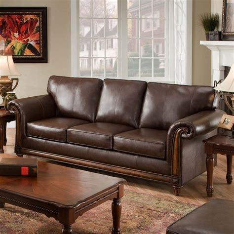Leather San Diego by Simmons San Diego Coffee Leather Sofa Traditional