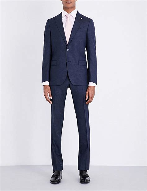 Navy Blue Rayleigh Medium Square Slim Backpack lardini micro square patterned tailored fit wool suit in