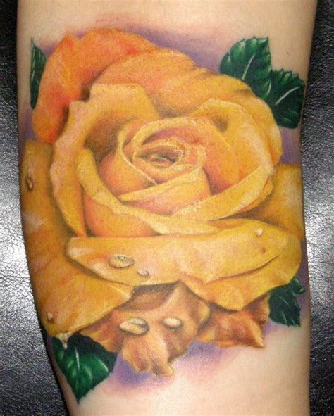 tattoo yellow rose realistic yellow tattoos