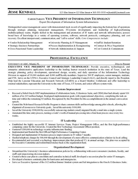 Resume Vice President It Exle Vice President Of Informationtechnology Resume Sle