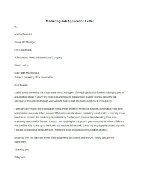 Application Letter For Marketing Application Letter Sle Marketing Position