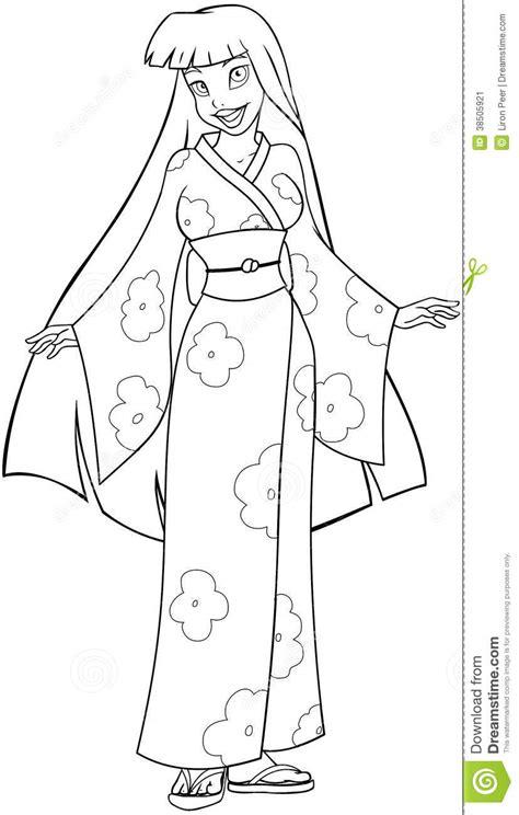 japanese girl kimono coloring page asian woman in kimono coloring page stock image image