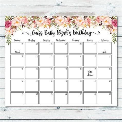 Printable Baby Calendar the 25 best due date calendar ideas on baby