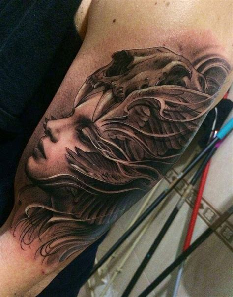 girl head tattoo s portrait with skull on arm best