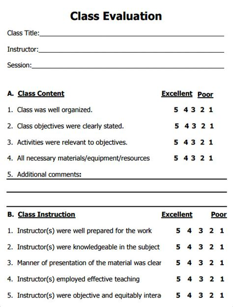 Class Evaluation Form Template Evaluation Template Free Documents In Pdf