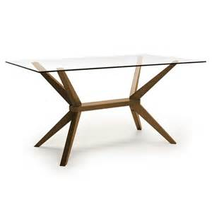 rectangular glass top dining table with wood base aeon furniture 6865 walnut base glass top greenwich