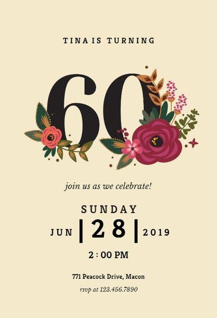 60th Birthday Invitation Templates (Free)   Greetings Island
