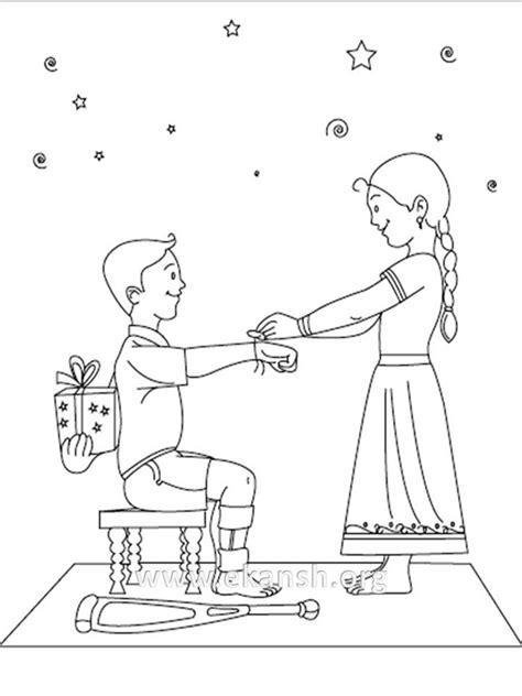 rakhi raksha bandhan colouring pages sketch coloring page